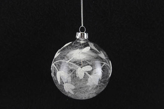 Hanging Glass Ball, Clear w/Silver Leaves, Glass Shreads Inside