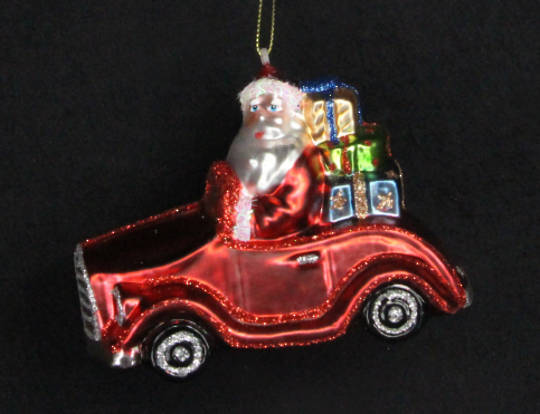 Glass Santa in Car w/Presants 21cm