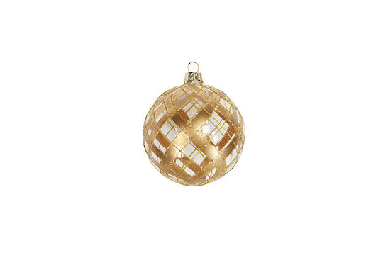 Hanging Glass Ball, Clear with Gold Trellis