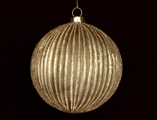 Glass Ball, Thin Ribbed Antique Matt Gold
