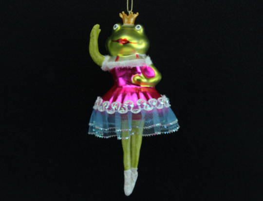 Glass Painted Frog with Dress 13cm