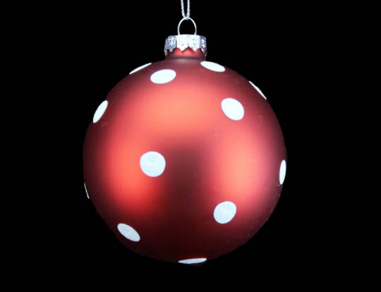 Glass Ball Matt Red with Matt White Dots 8cm