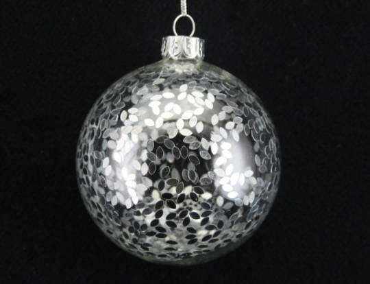 Glass Ball Clear Filled with Mini Silver Bits