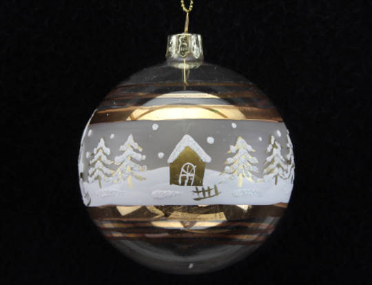 Glass Ball, Gold & Cream with House SnowScene