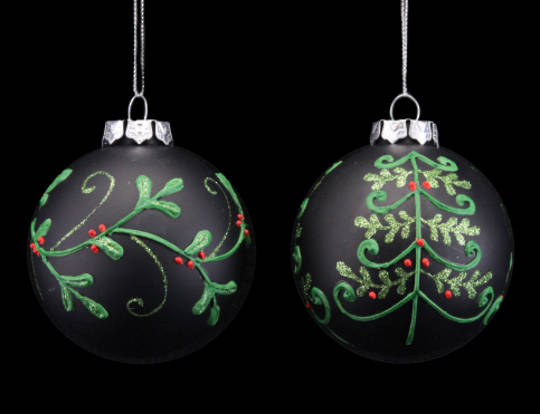Glass Ball Matt Black w/ Red& Green Tree