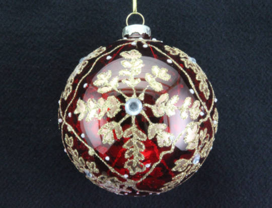 Glass Ball, Translucent Red with Matt Gold SnowflakeStar