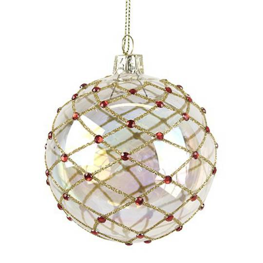 Glass Ball, Soap Bubble with Gold Trellis & Red Diamante 8cm