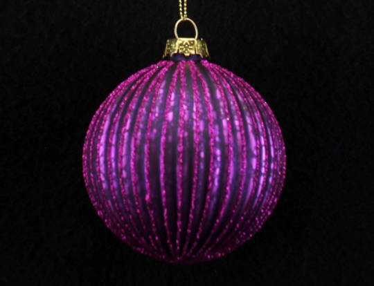Glass Ball, Thin Ribbed Fuchsia