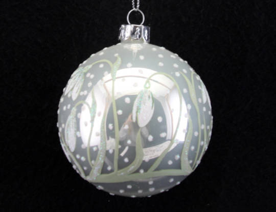 Glass Ball Pearlised White w/ Snowdrops