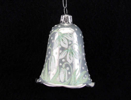 Glass Bell Pearlised White w/ Snowdrops