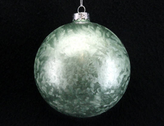 Glass Ball Pale Green Damask 10cm