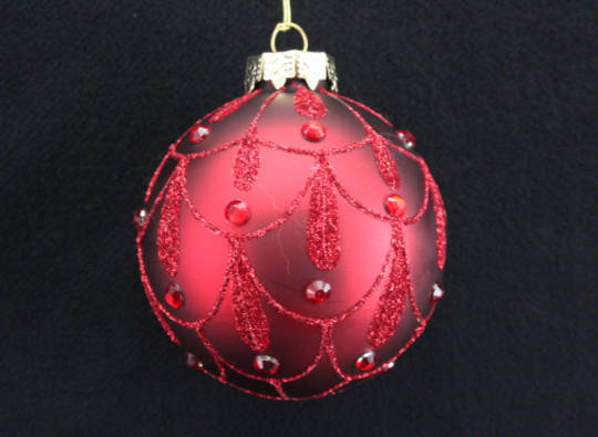 Glass Ball Matt Red with Red Glitter Swags and Red Gems