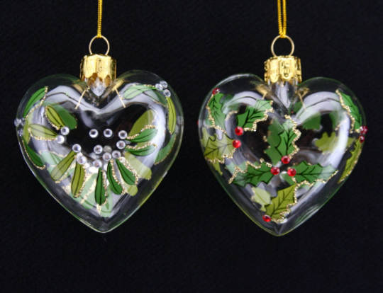 Glass Heart Holly or Mistletoe 6cm