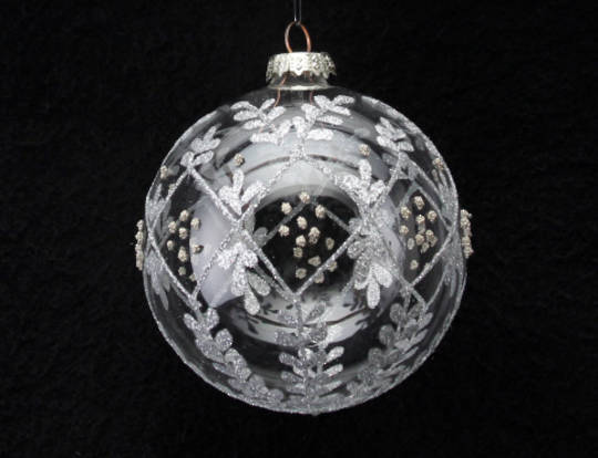 Hanging Clear Glass Ball Silver Leaf Trellis & Gold Dots