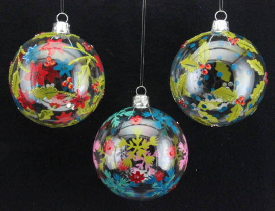 Glass Hanging Ball w/Vintage Pattern 6cm