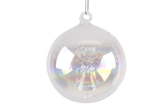Glass Hanging Ball Iridescent w/Angel Inside 8cm