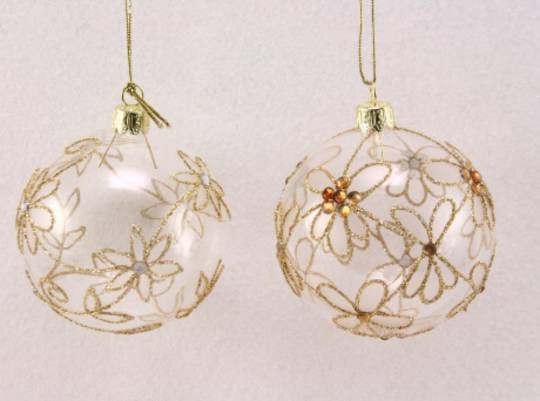 Glass Ball Clear w/Gold Flower & Diamantes