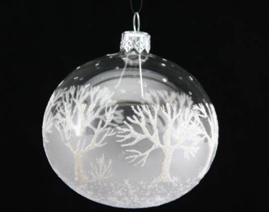 Glass Ball Clear with Frost And White Glitter Trees