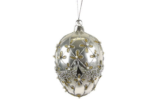 Glass Hanging Faberge Egg, Antique Silver