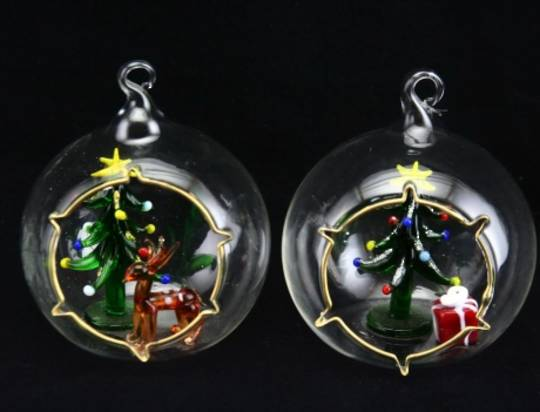 Glass Hanging Ball w/Xmas Scene 12cm