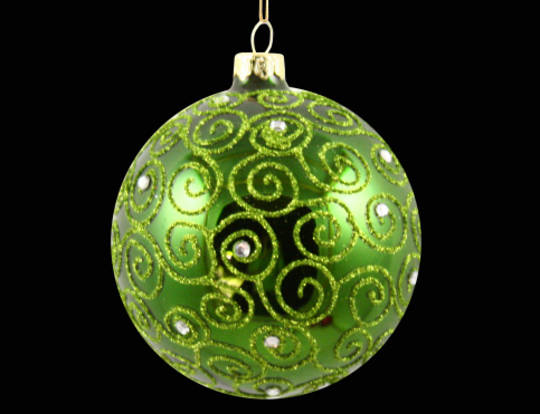 Hanging Glass Ball Metallic Green w/Green Glitter Filigree 8cm