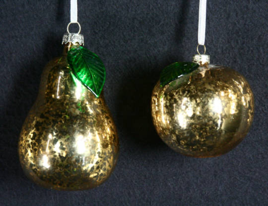 Glass Hanging Gold Antique Fruit 6cm