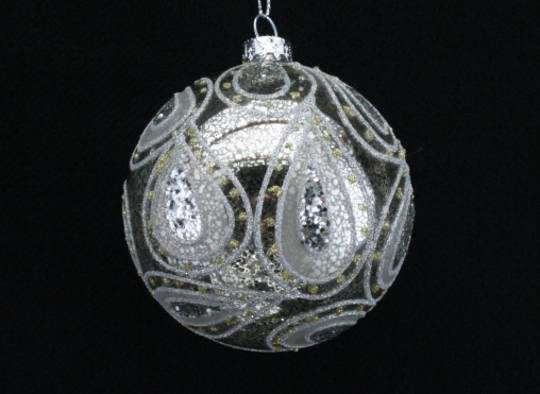 Glass Ball Antique Silver with Paisley Pattern 8cm