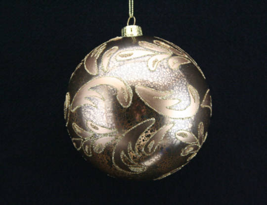 Glass Ball Antique Gold w/ Matt Gold & Glitter Leaves 10cm