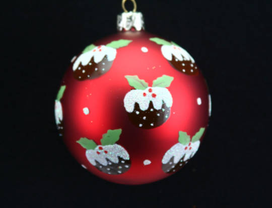 Glass Ball Matt red with Xmas Puddings 8cm
