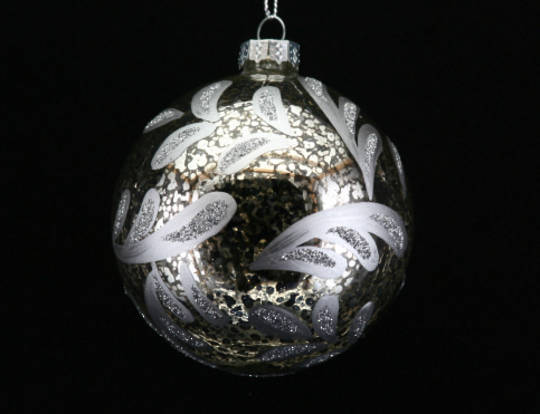 Glass Ball Antique with Silver Leaves 8cm