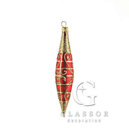 Glass Olive Red And Gold With Gold Decor 14cm