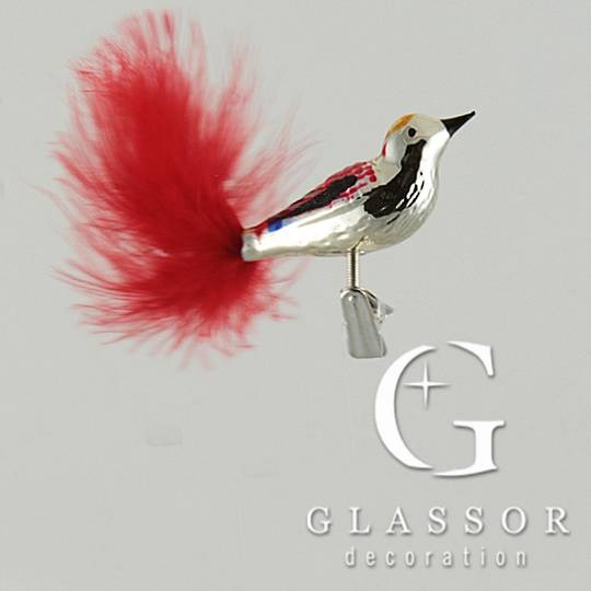 Glass Bird Clip Silver with Red Decor and Red Tail Feathers 6cm