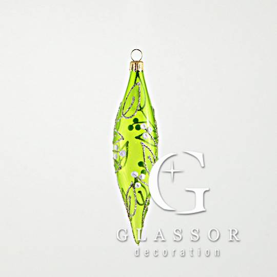 Glass Drop Transparent Green with Gold & White Mistletoe Decor Slim 16cm