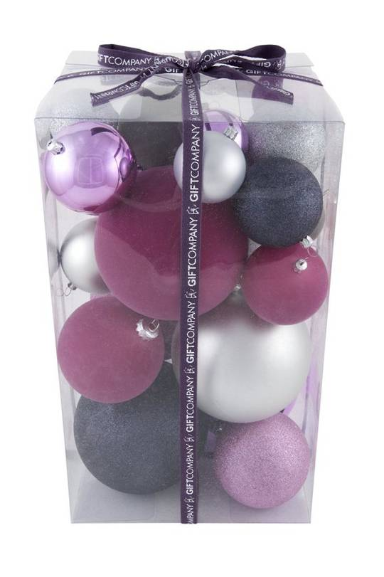 Shiny, Glitter and Flocked Plastic Pink and Grey Giant Baubles, Tub of 25