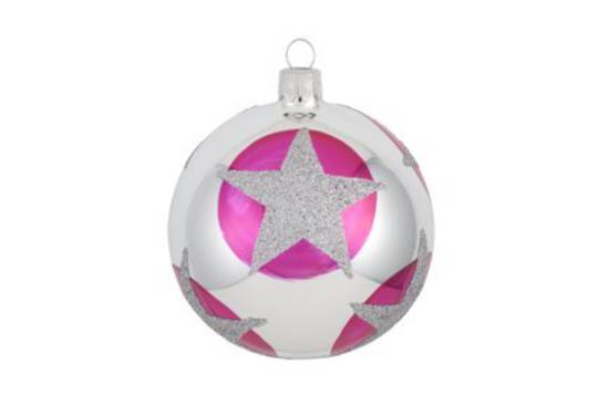 Glass Ball, Pink with Star