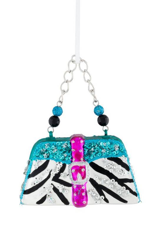 Glass Hanging Handbag, Zebra Print