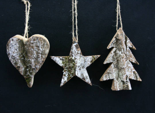 Wood Hanging Rustic Christmas Shapes 12cm