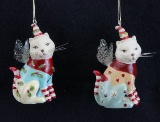 Resin Hanging Dressed Party Cat 6cm