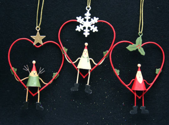 Metal Hanging Characters in Wire Heart 10cm
