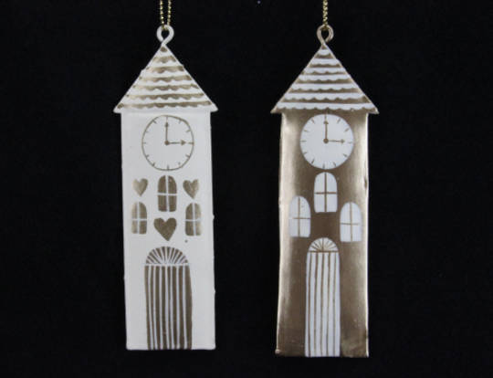 Metal Hanging Seaside Clock Tower 10cm