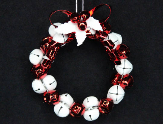 Hanging Metal Red & White Jingle Bell Wreath