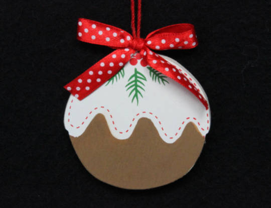 Hanging Flat Wooden Xmas Pudding 7cm