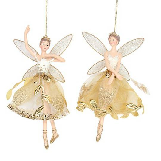 Hanging Resin Fairy Gold Leaf Skirt 15cm