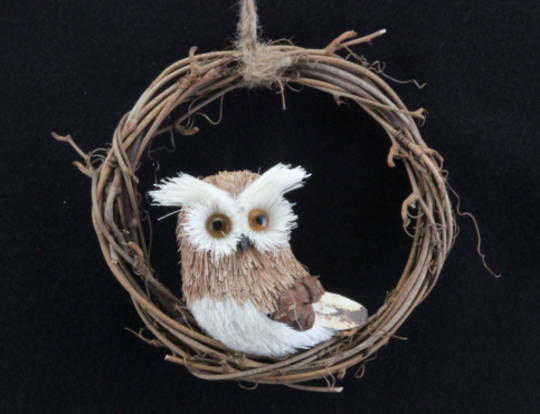Wood & Bristle Hanging Owl in Twig Ring 12cm