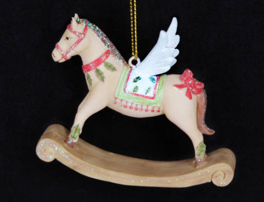 Hanging Resin Rocking Horse with Wings