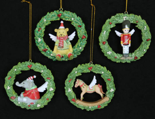 Hanging Resin Wreath with Elephant/ Teddy/Rocking Horse/Soldier