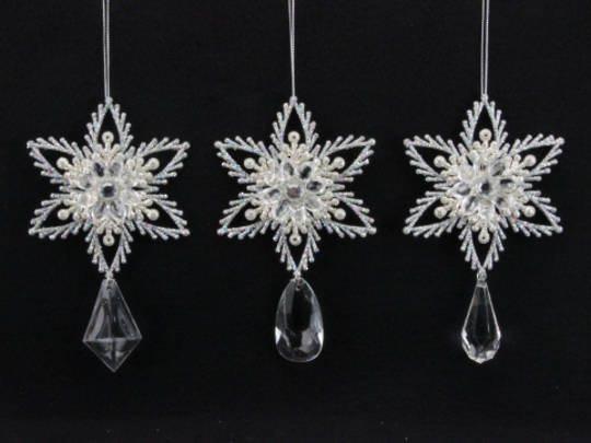 Acrylic Clear and White Snowflake with Drop 13cm