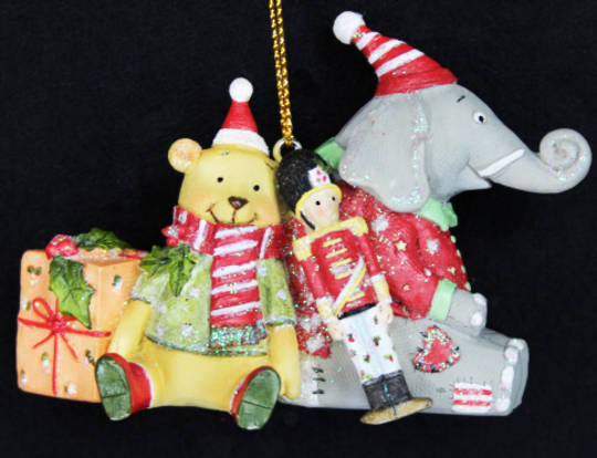 Hanging Resin Teddy & Elephant with Toys