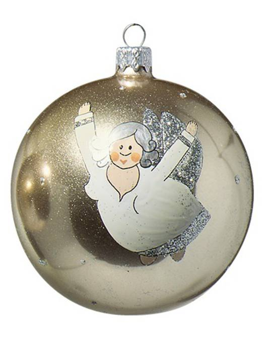 Glass Ball, Gold with Chubby Flying Angel 10cm