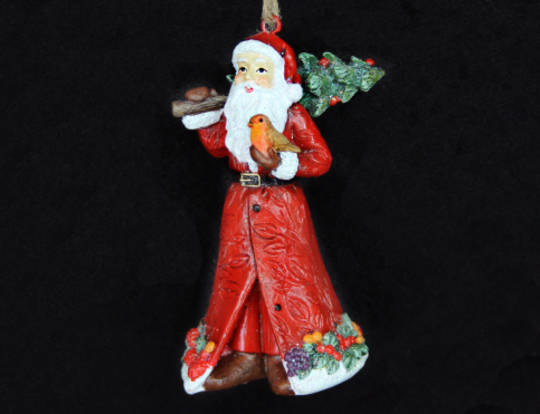 Hanging Resin Santa with Tree